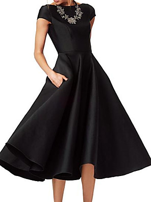 cheap Mother of the Bride Dresses-A-Line Mother of the Bride Dress Elegant Jewel Neck Tea Length Satin Short Sleeve with Ruching 2020