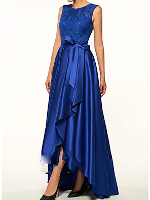 cheap Evening Dresses-A-Line Mother of the Bride Dress Sexy Jewel Neck Asymmetrical Lace Satin Sleeveless with Sash / Ribbon Pleats 2020