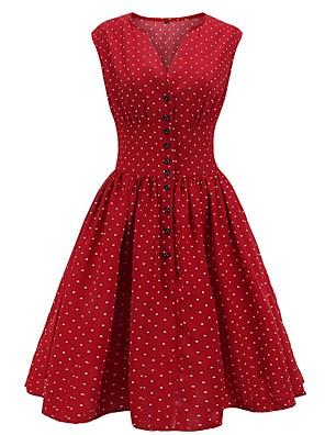 cheap Party Dresses-Women's A Line Dress - Sleeveless Polka Dot V Neck Wine Orange Navy Blue S M L XL XXL XXXL XXXXL
