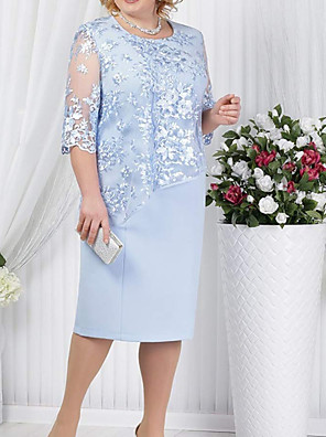 cheap Mother of the Bride Dresses-Sheath / Column Mother of the Bride Dress Plus Size Jewel Neck Knee Length Polyester 3/4 Length Sleeve with Lace 2020