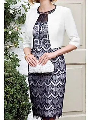 cheap Mother of the Bride Dresses-Sheath / Column Mother of the Bride Dress Elegant Illusion Neck Knee Length Polyester 3/4 Length Sleeve with Lace Pattern / Print 2020