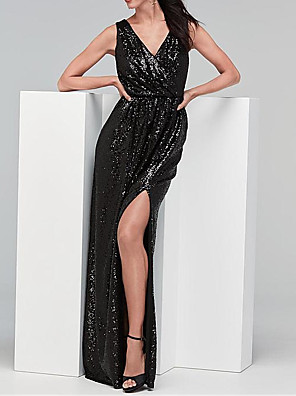cheap Bridesmaid Dresses-Sheath / Column V Neck Floor Length Stretch Satin / Sequined Bridesmaid Dress with Sequin / Split Front