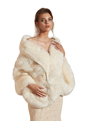 cheap Wedding Dresses-Sleeveless Capes Faux Fur Party / Evening Shawl & Wrap / Women's Wrap With Button
