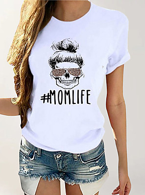 cheap Women's T-shirts-Women's Daily Basic Cotton T-shirt - Geometric Print Yellow