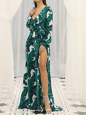 cheap Evening Dresses-A-Line Bohemian Holiday Prom Dress Scoop Neck Long Sleeve Sweep / Brush Train Polyester with Pattern / Print 2020