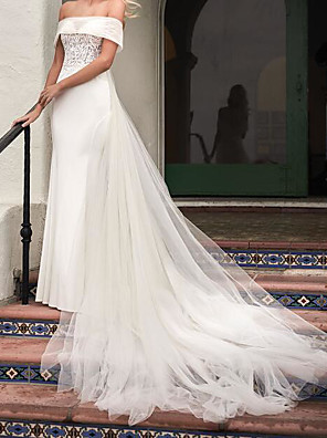 cheap Wedding Dresses-Mermaid / Trumpet Wedding Dresses Strapless Sweep / Brush Train Tulle Sleeveless Country Plus Size with Embroidery 2020