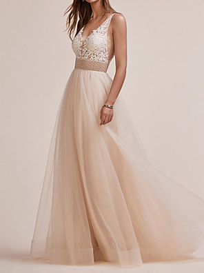 cheap Prom Dresses-A-Line Elegant Engagement Prom Dress V Neck Sleeveless Floor Length Tulle with Beading Appliques 2020