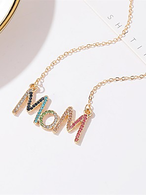 cheap Quartz Watches-Women's Pendant Necklace Necklace Classic Letter Classic Trendy Fashion Cute Chrome Imitation Diamond Gold 53 cm Necklace Jewelry 1pc For Street Beach Festival