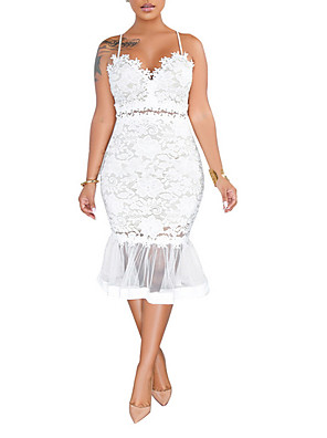 cheap Down to $2.99-Women's Strap Dress Midi Dress - Sleeveless Solid Colored Lace Cocktail Party Lace Slim White Black S M L XL XXL
