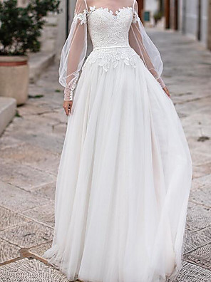 cheap Wedding Dresses-A-Line Wedding Dresses Jewel Neck Floor Length Lace Tulle Long Sleeve Country Plus Size Illusion Sleeve with Lace Appliques 2020