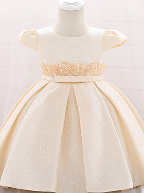 cheap Girls' Dresses-Ball Gown Floor Length Birthday / Event / Party Christening Gowns - Lace / Mikado Short Sleeve Jewel Neck with Bow(s)