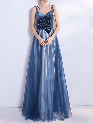cheap Prom Dresses-A-Line Glittering Blue Prom Formal Evening Dress Spaghetti Strap Sleeveless Floor Length Polyester with Bow(s) Sequin 2020