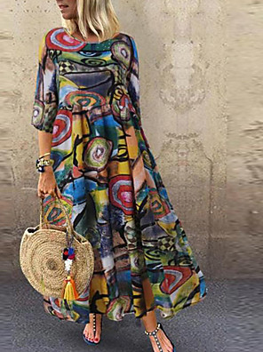 cheap Summer Dresses-Women's Maxi Shift Dress - Short Sleeves Geometric V Neck Elegant Loose Red Green M L XL XXL