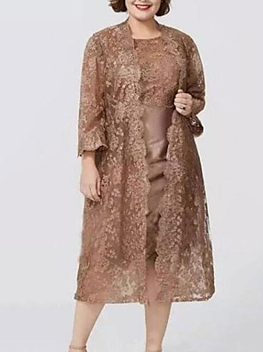 cheap Prom Dresses-Sheath / Column Mother of the Bride Dress Elegant Plus Size Jewel Neck Knee Length Lace Long Sleeve with Lace 2020