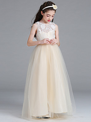 cheap Junior Bridesmaid Dresses-Princess / A-Line Round Floor Length Lace / Tulle Junior Bridesmaid Dress with Bow(s)