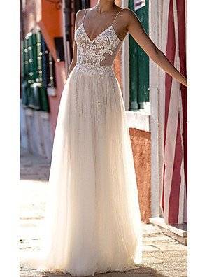 cheap Wedding Dresses-A-Line Wedding Dresses Spaghetti Strap Floor Length Polyester Sleeveless Country Plus Size with Lace Insert Appliques 2020