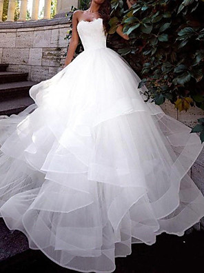 cheap Wedding Dresses-Ball Gown Wedding Dresses Strapless Sweep / Brush Train Tulle Sleeveless Country Plus Size with Cascading Ruffles 2020