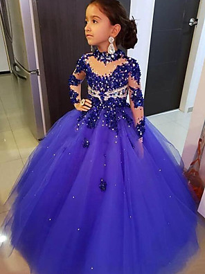 cheap Flower Girl Dresses-Ball Gown Floor Length Event / Party Flower Girl Dresses - Tulle 3/4 Length Sleeve Illusion Neck with Solid / Crystals / Rhinestones