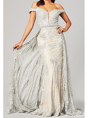 cheap Evening Dresses-Sheath / Column Mother of the Bride Dress Elegant Off Shoulder Sweep / Brush Train Lace Short Sleeve with Appliques 2020
