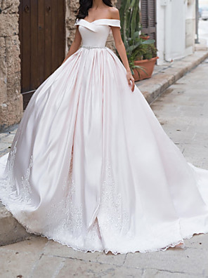 cheap Wedding Dresses-A-Line Wedding Dresses Off Shoulder Sweep / Brush Train Taffeta Chiffon Over Satin Short Sleeve Country Plus Size with Sashes / Ribbons 2020