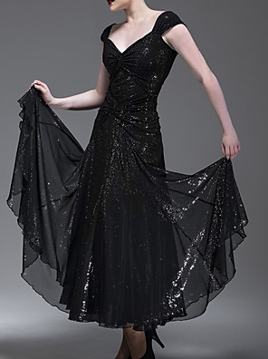cheap Prom Dresses-Ballroom Dance Dress Pleats Paillette Women's Performance Cap Sleeve Polyester Taffeta