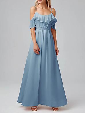 cheap Evening Dresses-A-Line Spaghetti Strap Floor Length Chiffon Bridesmaid Dress with Pleats / Ruffles