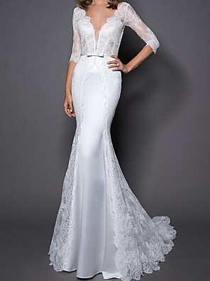 cheap Evening Dresses-Mermaid / Trumpet Wedding Dresses V Neck Sweep / Brush Train Lace Satin Half Sleeve Country Plus Size with Sashes / Ribbons Bow(s) Embroidery 2020