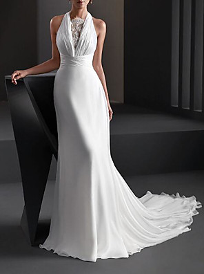 cheap Wedding Dresses-A-Line Wedding Dresses Halter Neck Sweep / Brush Train Chiffon Sleeveless Country Plus Size with Lace 2020
