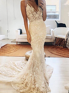 cheap Wedding Dresses-Mermaid / Trumpet Wedding Dresses V Neck Sweep / Brush Train Polyester Sleeveless Country Plus Size with Embroidery Appliques 2020