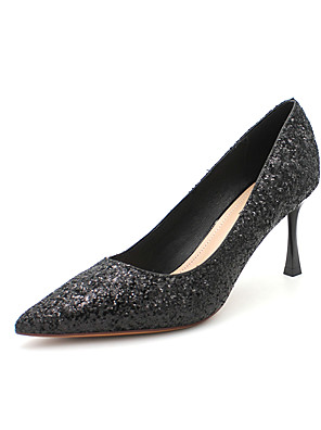 cheap Evening Dresses-Women's Wedding Shoes Stiletto Heel Pointed Toe Sequin Synthetics Classic / Minimalism Spring & Summer / Fall & Winter Gold / Silver / Black / Party & Evening