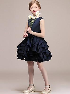cheap Junior Bridesmaid Dresses-A-Line Round Short / Mini Satin Junior Bridesmaid Dress with Tier / Cascading Ruffles