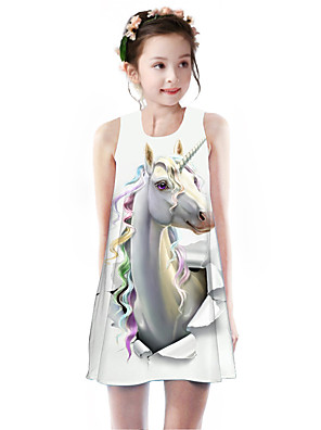 cheap Girls' Dresses-Kids Girls' Basic Cute Unicorn Rainbow Animal Cartoon Print Sleeveless Knee-length Dress White