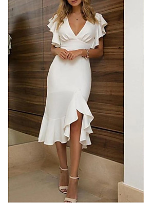 cheap Cocktail Dresses-Sheath / Column Sexy White Homecoming Cocktail Party Dress V Neck Short Sleeve Asymmetrical Polyester with Ruffles 2020