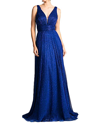 cheap Evening Dresses-Sheath / Column Minimalist Blue Party Wear Formal Evening Dress V Neck Sleeveless Sweep / Brush Train Chiffon with Pleats 2020