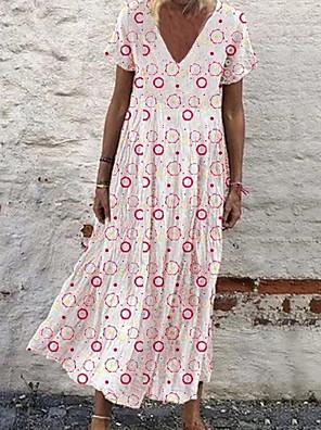cheap Romantic Lace Dresses-Women's Swing Dress - Short Sleeves Geometric V Neck Loose White Yellow Blushing Pink Light Blue S M L XL XXL XXXL
