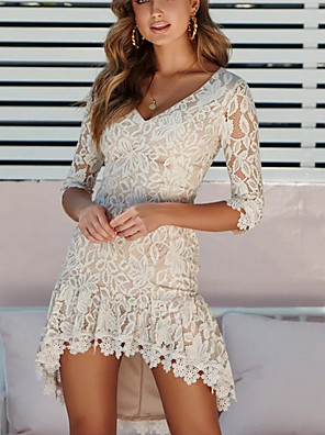cheap Romantic Lace Dresses-Women's Asymmetrical Sheath Dress - 3/4 Length Sleeve Solid Color V Neck Elegant White Black S M L XL XXL XXXL