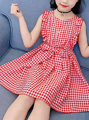 cheap Girls' Dresses-Kids Girls' Cute Street chic Plaid Ruffle Print Sleeveless Dress Blushing Pink