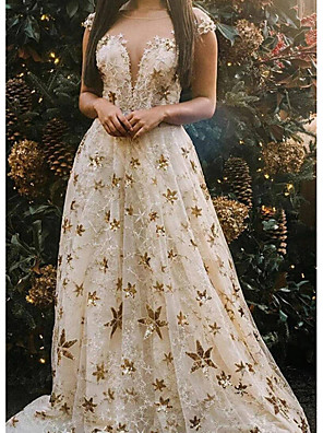 cheap Prom Dresses-Ball Gown Luxurious Sparkle Engagement Formal Evening Dress Illusion Neck Short Sleeve Floor Length Polyester with Appliques 2020