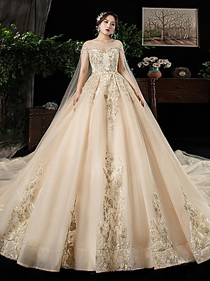 cheap Evening Dresses-Ball Gown Wedding Dresses Off Shoulder Watteau Train Lace Satin Tulle Cap Sleeve Formal Wedding Dress in Color Plus Size with Lace Lace Insert 2020
