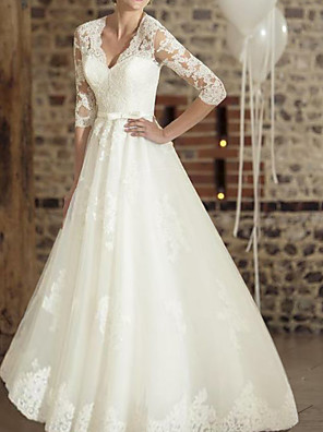 cheap Wedding Dresses-A-Line Wedding Dresses V Neck Floor Length Lace Tulle Half Sleeve Country Plus Size with Appliques 2020