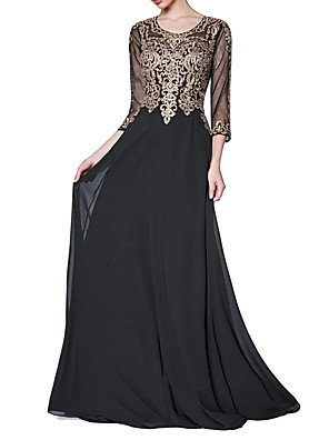 cheap Evening Dresses-Sheath / Column Floral Wedding Guest Formal Evening Dress Jewel Neck 3/4 Length Sleeve Sweep / Brush Train Chiffon with Appliques 2020
