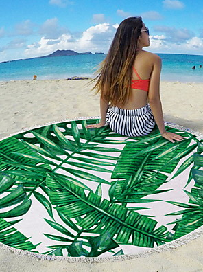 cheap Beach Towel-Women's Beach Mat Blanket Towel Shower Bath Towel Travel Blanket Light Green Green Lawn Green Beach Towel Swimwear Swimsuit - Geometric Light Green