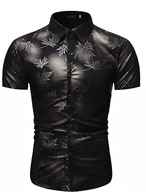cheap Men's Shirts-Men's Geometric Print Shirt Tropical Holiday Classic Collar Black / Red / Navy Blue / Short Sleeve
