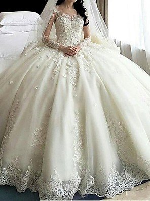 cheap Evening Dresses-A-Line Wedding Dresses Scoop Neck Court Train Organza Long Sleeve Sexy Wedding Dress in Color with Appliques 2020