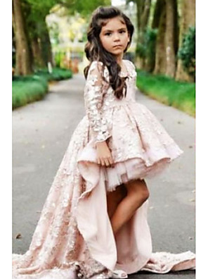 cheap Girls' Dresses-Ball Gown Asymmetrical Wedding Flower Girl Dresses - Polyester Long Sleeve V Neck with Tier / Solid