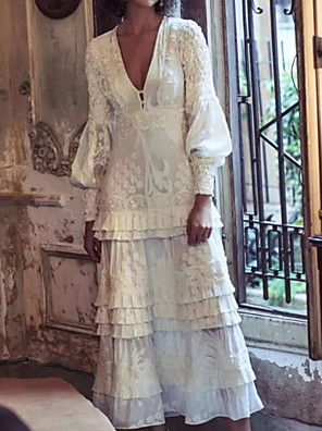 cheap Prom Dresses-A-Line Boho Floral Holiday Cocktail Party Dress V Neck Long Sleeve Ankle Length Lace with Ruffles Embroidery 2020