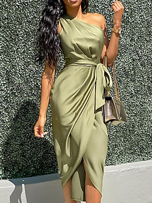 cheap Party Dresses-Women's Sheath Dress - Sleeveless Solid Color One Shoulder Elegant Green S M L XL