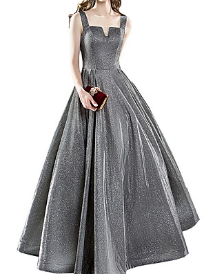 cheap Prom Dresses-A-Line Minimalist Sparkle Party Wear Prom Dress Scoop Neck Sleeveless Floor Length Polyester with Pleats Sequin 2020