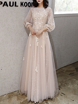 cheap Prom Dresses-A-Line Floral Pink Party Wear Prom Dress Jewel Neck 3/4 Length Sleeve Floor Length Tulle with Appliques 2020