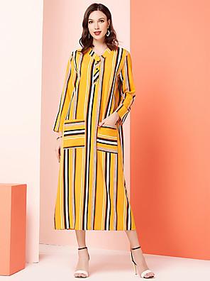 abordables Robes Femme-Femme Maxi Jaune Robe Simple Le style mignon Trapèze Bloc de Couleur M L XL Manches Longues